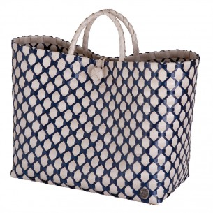 Lima Shopper in Pale Grey mit Navy Muster