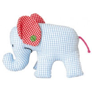 Vichy Blue Mini Elephant Rattle