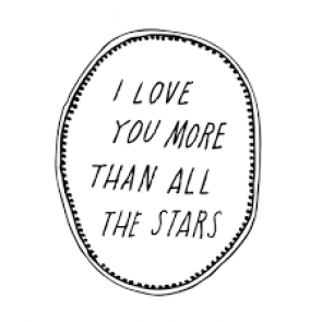 'I love you more than all the stars' Wandsticker in Schwarz