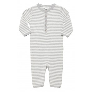 Soft Grey Striped Knitted Growsuit