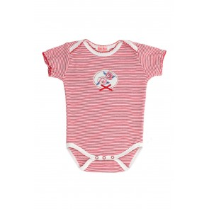 Käthe Kruse Organic Baby Bodysuit Stripy Red with Roses